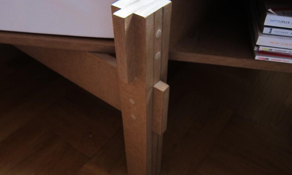 Close-up of MDF-boards interlocking