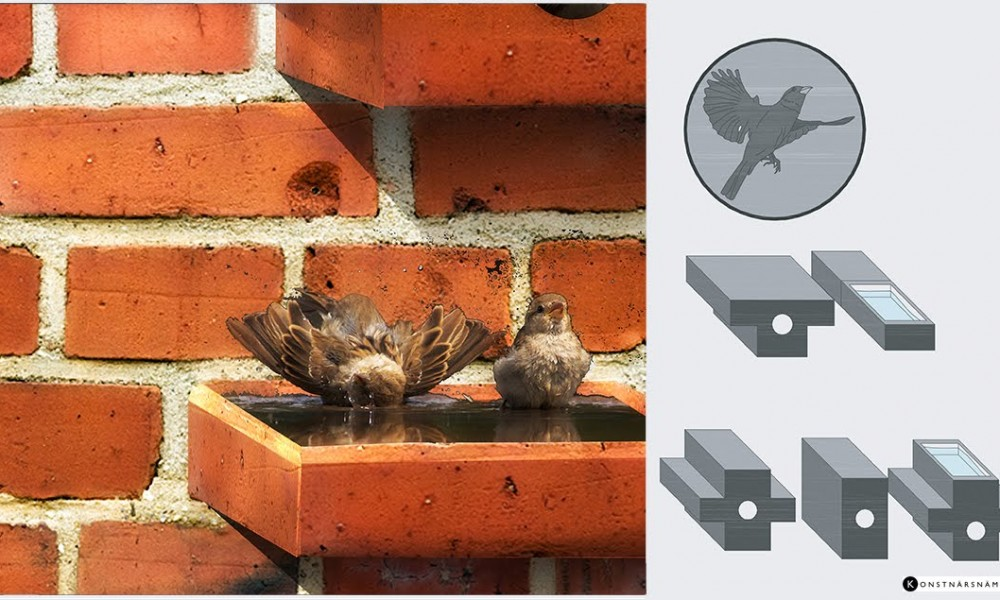 Bricks turned into bird house and bird bath