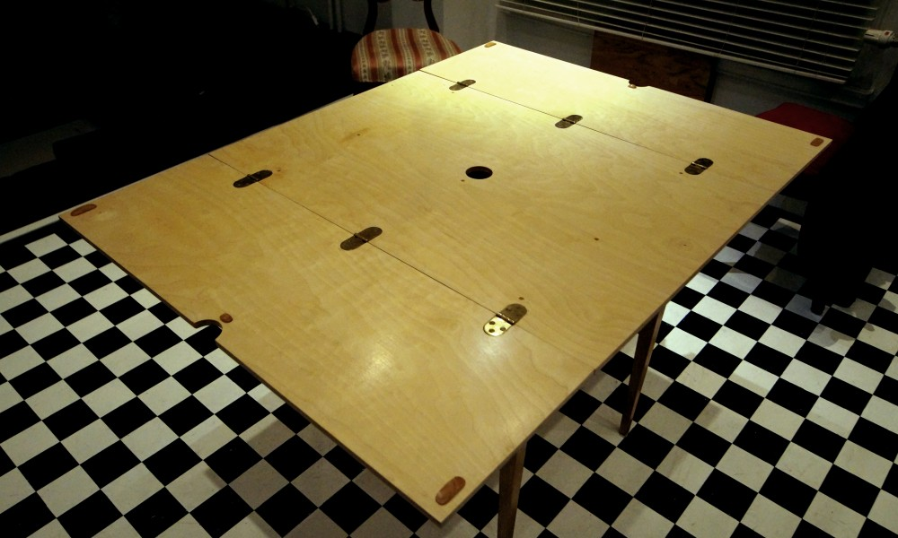 Custom-made table opened