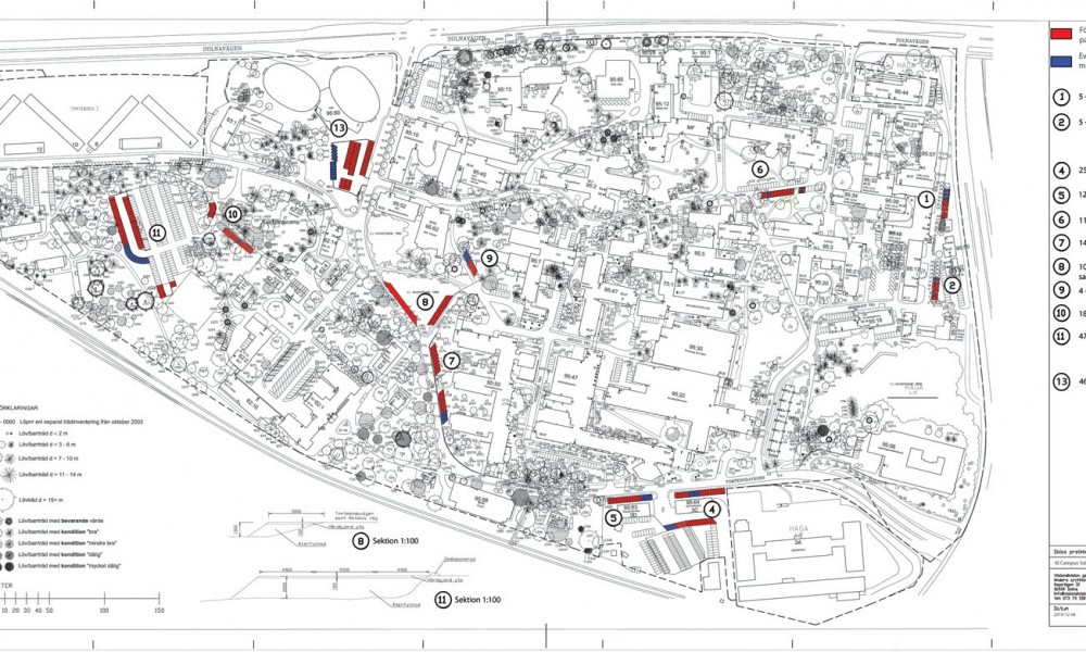 Campus map with temporary parking lots