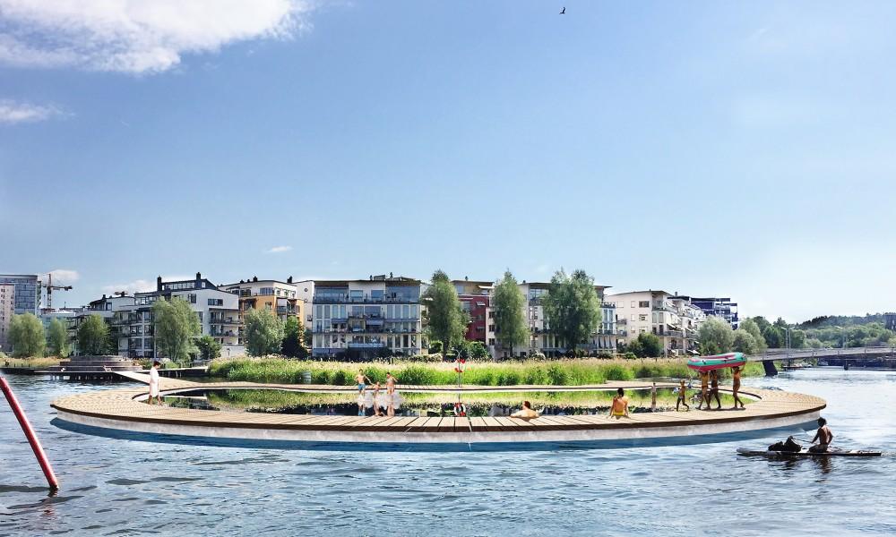 Public pool at Hammarby sjöstad