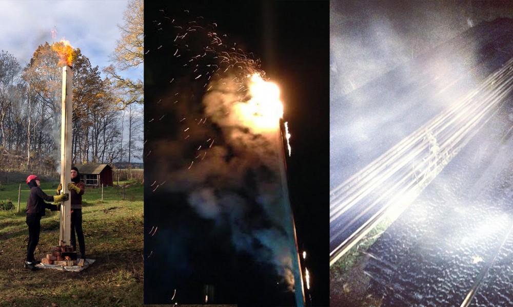 Full Scale Students burning wood