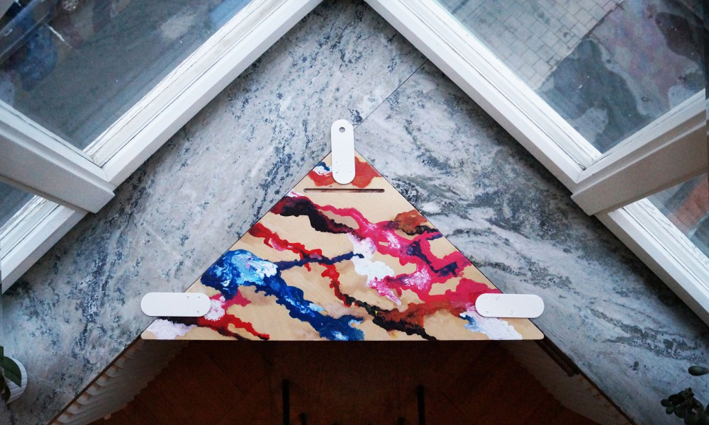 Home office corner window table with acrylic paint marbling
