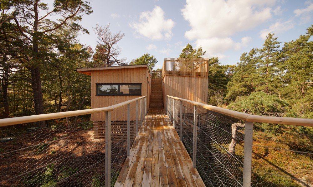 Bridge to guest house and sauna