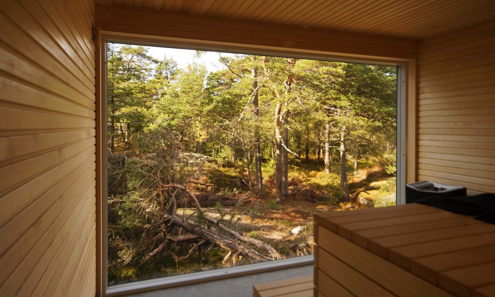 View from inside the sauna