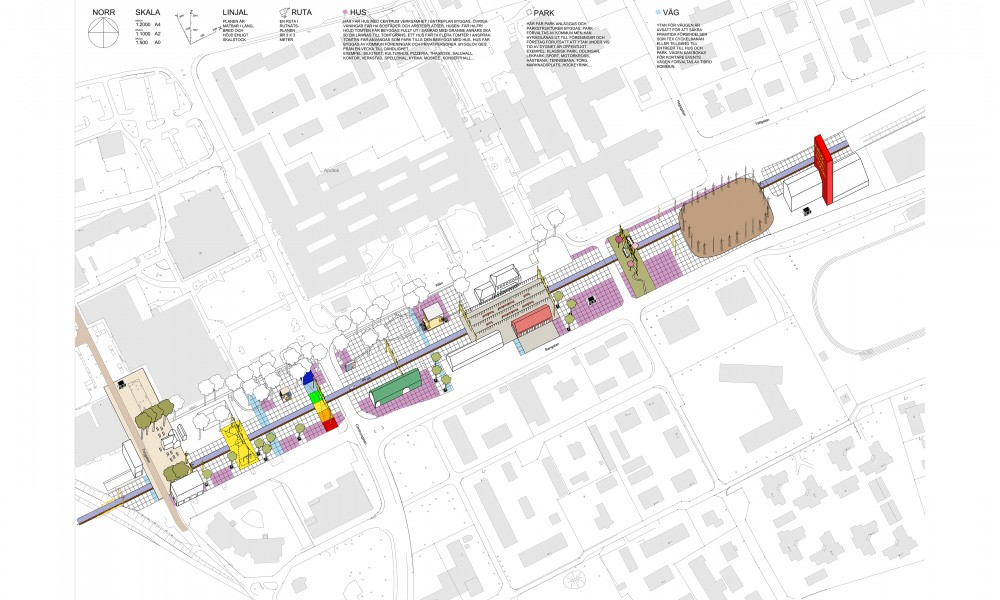 Axonometric view of all 17 projects and proposals