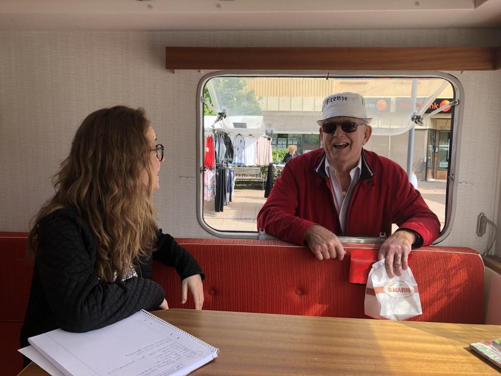 Talking to Tibro through the caravan window