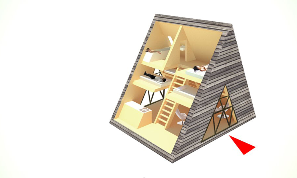 45 m2, axonometric view of the configurations of spaces
