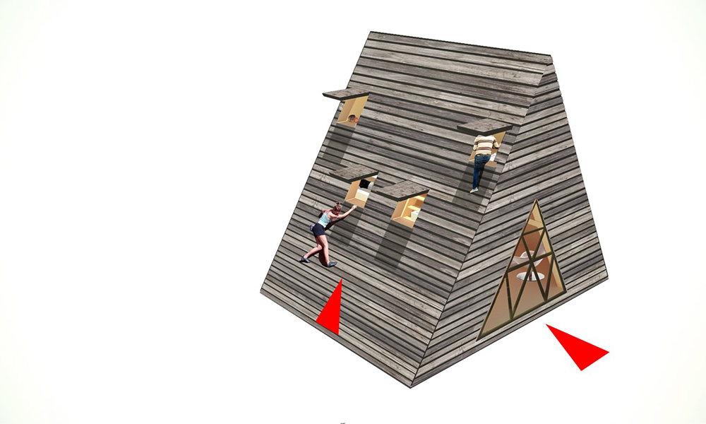 Axonometric view of the different entrance points