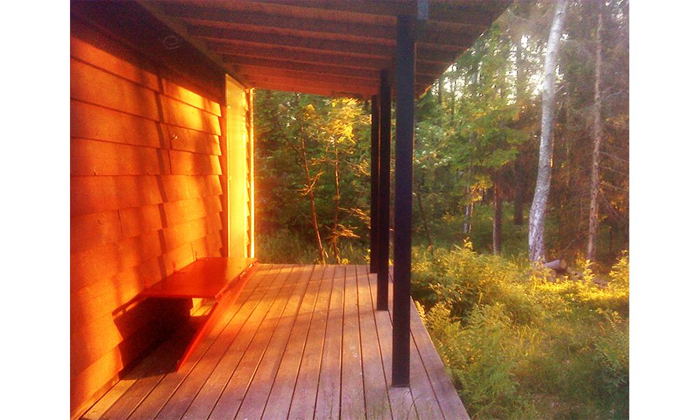 View of veranda in the evening sun