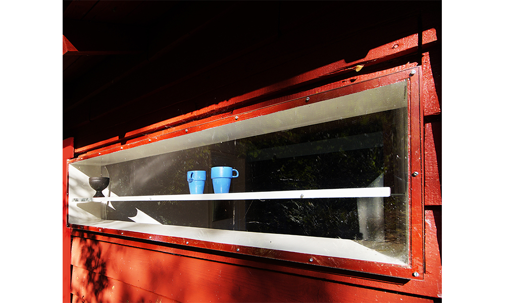 View of Plexiglas window in the hallway from the outside
