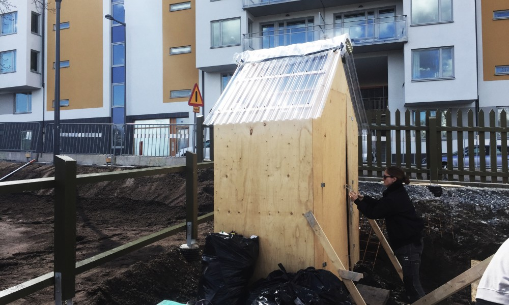 Third of the Tril-Shed on a building site