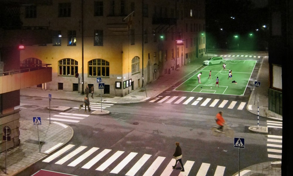 Street lights lighting up areas meant for sport activities