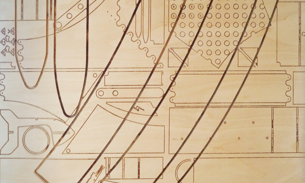 When milling one board the machine lost its coordinates, to hide the wrongly milled lines we put all drawings at 1:10 and curved them into one of the entrance walls.