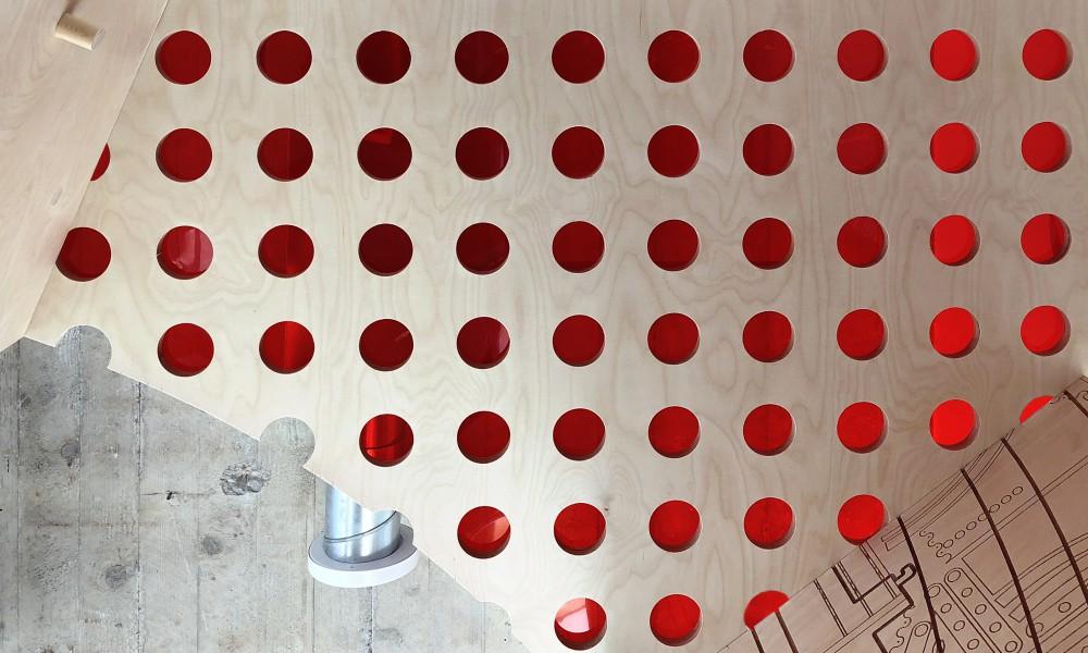 Red Plexiglas ceiling