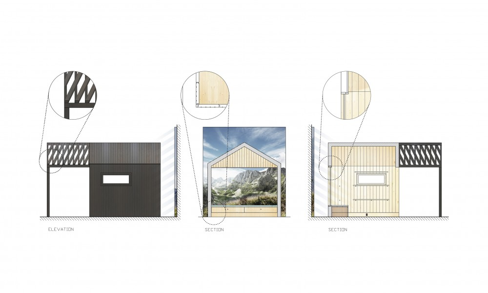 Cabin section and elevation