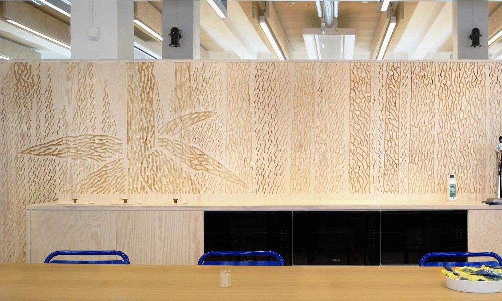 Coffee bar with CNC milled Tove Jansson pattern