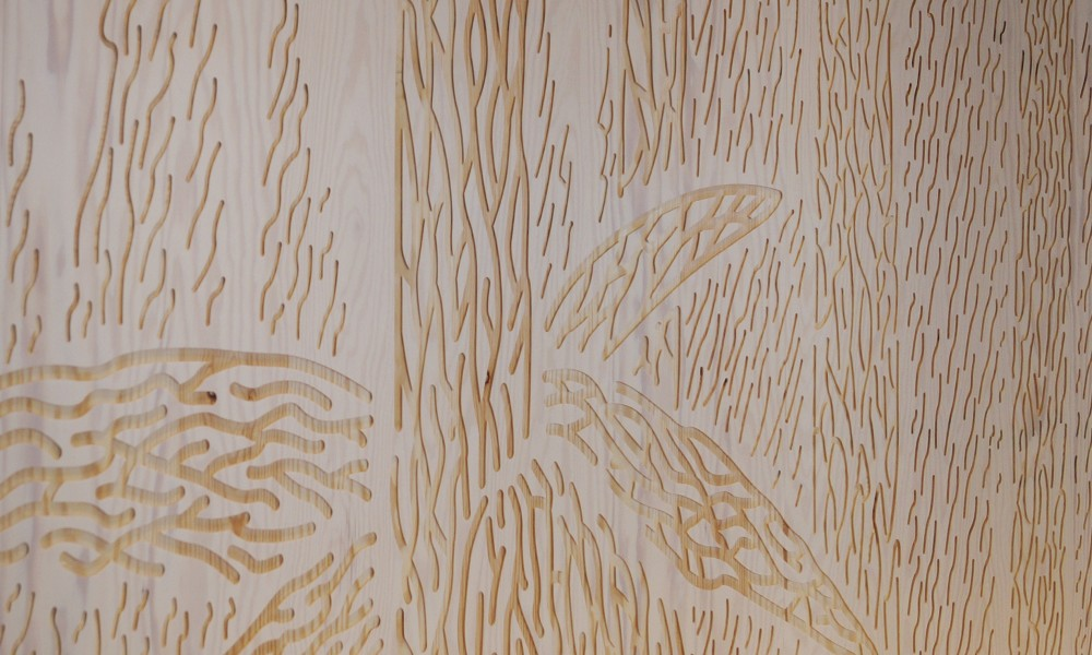 Coffee bar with CNC milled Tove Jansson pattern zoom in