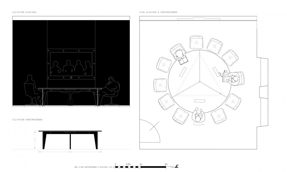Conferenc black table and wall with integrated tv drawing